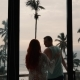 Silhouette of Couple in Love on Terrace Looking at the Sea - VideoHive Item for Sale