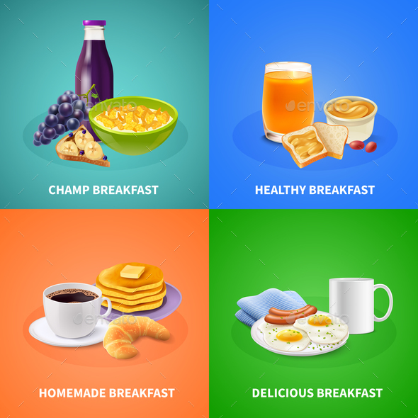 Realistic Breakfast Design Concept - Food Objects