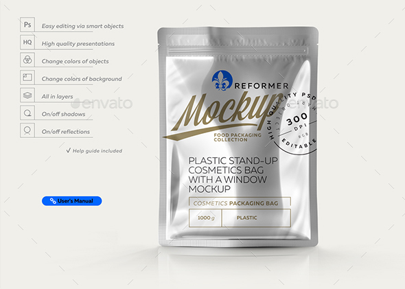 Glossy Metallic Stand-up Bag Mockup - Miscellaneous Packaging