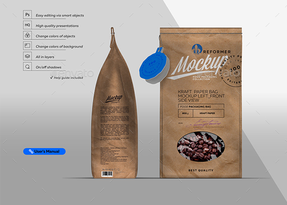 Kraft Paper Bag Mockup Left & Front Side View - Miscellaneous Packaging