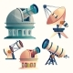 Vector Cartoon Set with Astronomical Equipment