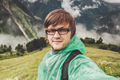 Man In Glasses Taking Selfie In The Mountains  - PhotoDune Item for Sale