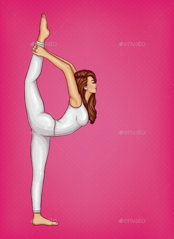 Vector Pop Art Girl Doing Gymnastics or Yoga - Sports/Activity Conceptual