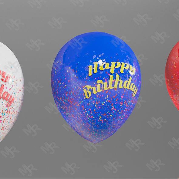Balloons 3D Pack Textured - 3DOcean Item for Sale