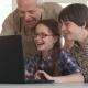 Senior Man and His Grandchildren Entertain on Laptop - VideoHive Item for Sale