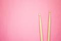 Wooden Drumsticks On Pink Back  - PhotoDune Item for Sale
