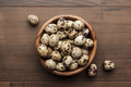 Quail Eggs On The Brown Wooden Table  - PhotoDune Item for Sale