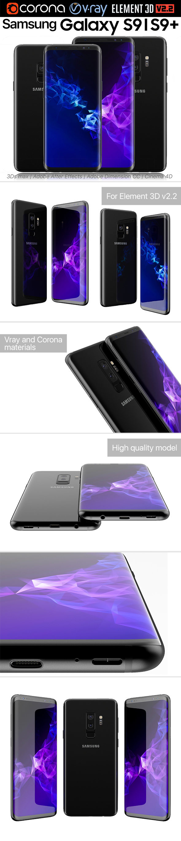 Samsung Galaxy S9 and S9 PLUS Black - 3DOcean Item for Sale