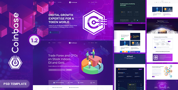 Coinbase – Bitcoin and Cryptocurrency PSD Template