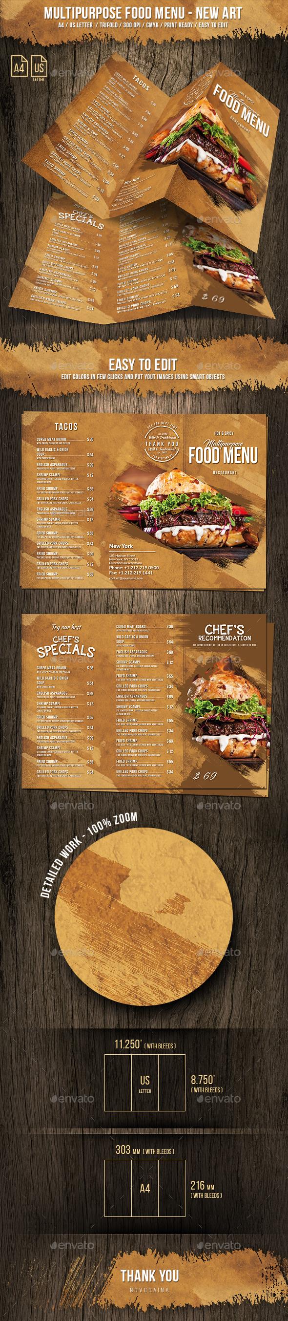 Multipurpose Food Menu - A4 & US Letter - Trifold - New Art - Food Menus Print Templates