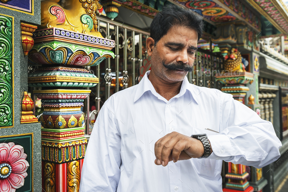 Indian man at the temple - Stock Photo - Images