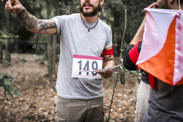 Outdoor orienteering check point activity - Stock Photo - Images