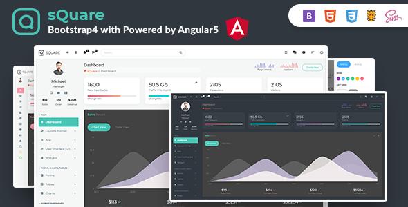 sQuare - Bootstrap 4 Light & Dark Admin with Free Angular5 + UI Kit - Admin Templates Site Templates