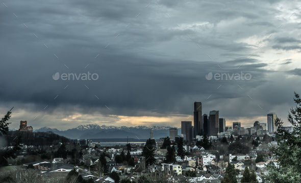 Stormy Sky Seattle Washington Puget Sound Downtown City Skyline - Stock Photo - Images