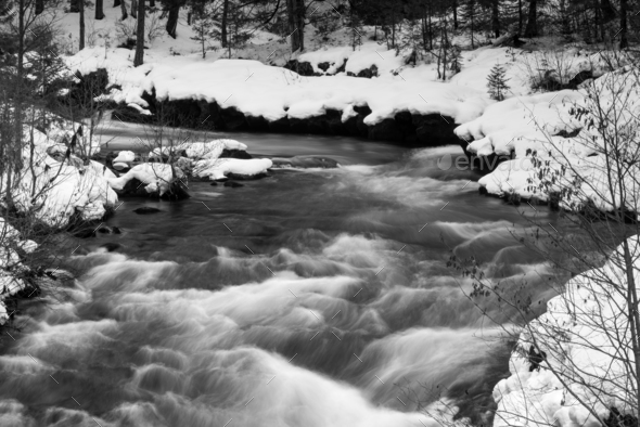Rogue River Bend Raging Water Torrent Oregon State - Stock Photo - Images