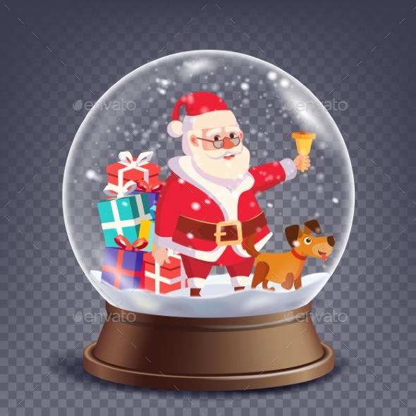 Xmas Empty Snow Globe Vector. Santa Claus Ringing - Seasons/Holidays Conceptual