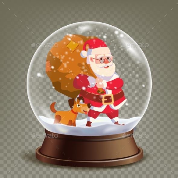 Christmas Snow Globe Realistic Vector. - Seasons/Holidays Conceptual