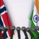 Flags of Norway and India at International Press Conference - VideoHive Item for Sale