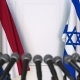 Flags of the Netherlands and Israel at International Press Conference - VideoHive Item for Sale