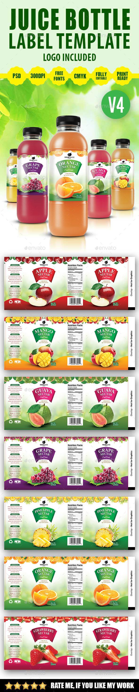 Juice Bottle Label Template V4 - Packaging Print Templates