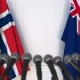 Flags of Norway and Australia at International Press Conference - VideoHive Item for Sale