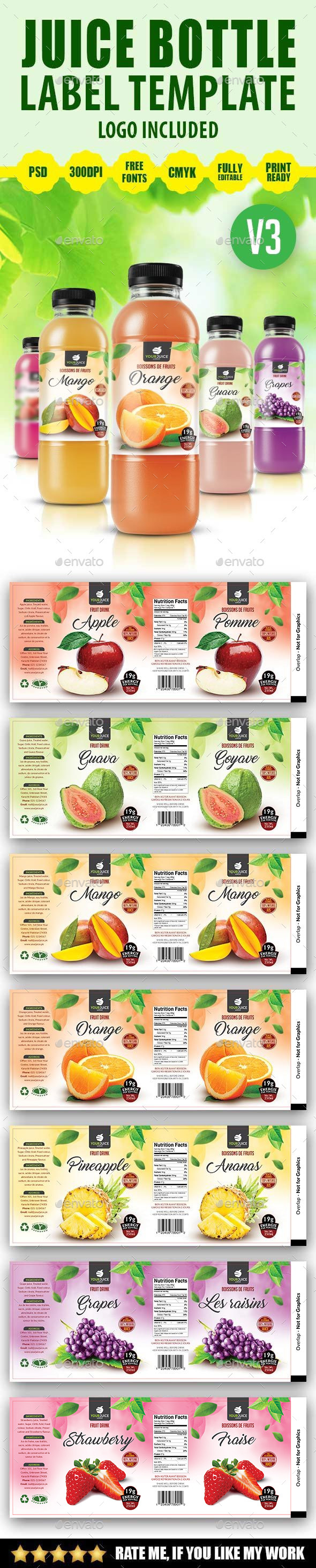 Juice Bottle Label Template V3 - Packaging Print Templates
