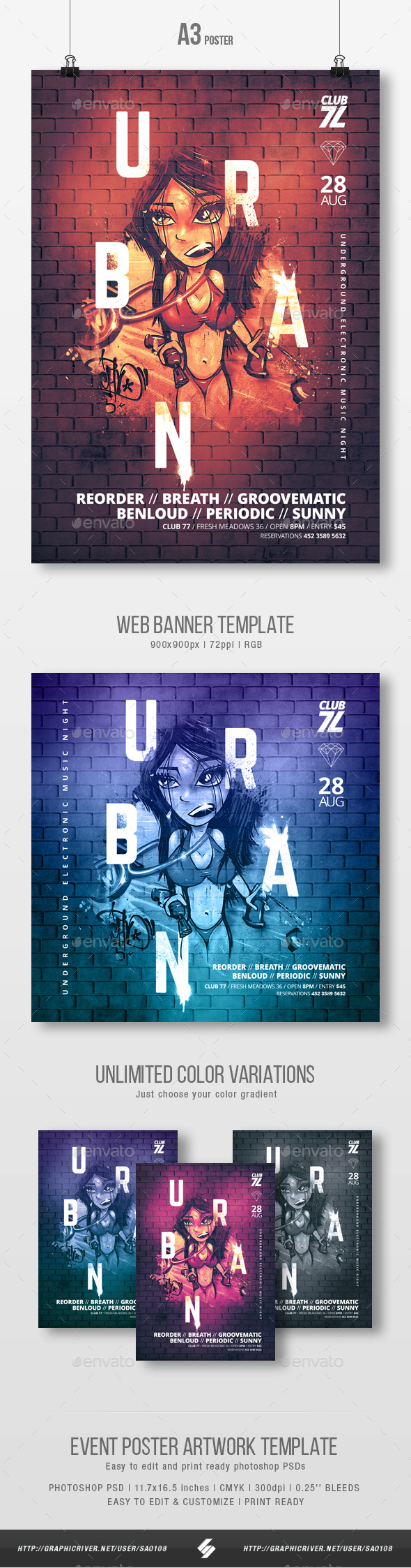 Urban - Graffiti Party Flyer / Poster Artwork Template A3 - Clubs & Parties Events