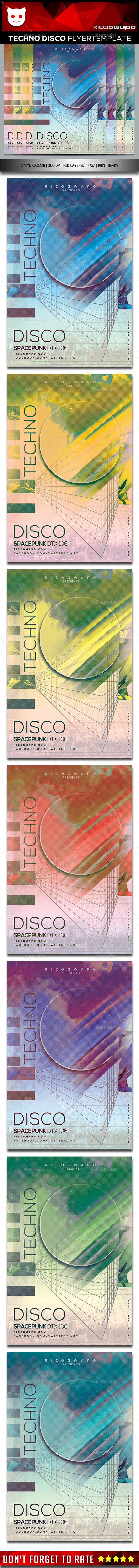 Techno Disco Flyer Template - Flyers Print Templates