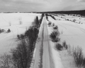 Aerial view of snow winter country road black and white photo - PhotoDune Item for Sale
