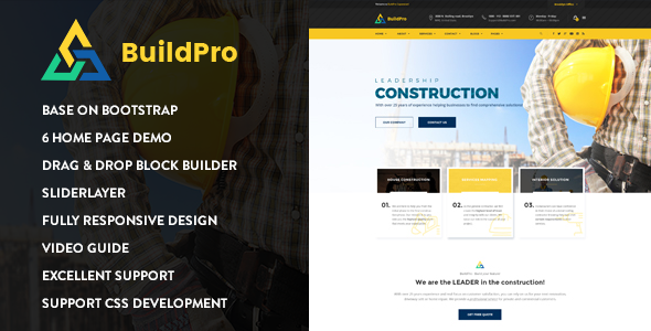 Image of BuildPro - Construction Drupal 8.5 Theme