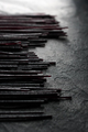 Black dry rice noodles on black stone partial blur - PhotoDune Item for Sale