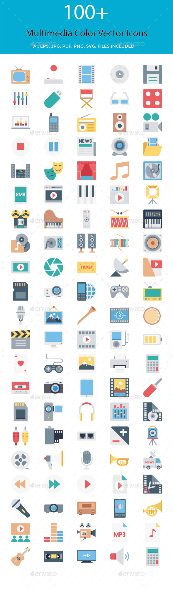 100+ Multimedia Color Vector Illustration - Icons