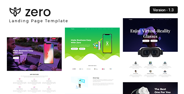 ZERO - App Landing Page - Marketing Corporate