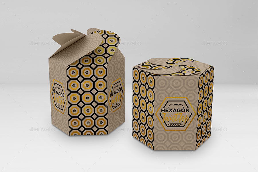Hexagon Twist Top Candy Gift Box Packaging Mock Ups By
