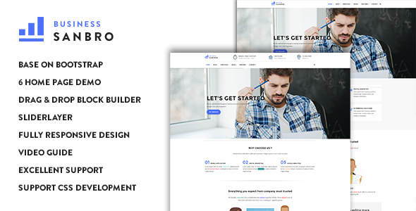 Sanbro - Responsive Business Drupal 8.5 Theme - Corporate Drupal