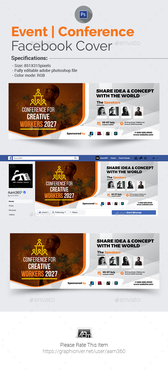 Conference/Event Facebook Cover Template - Facebook Timeline Covers Social Media