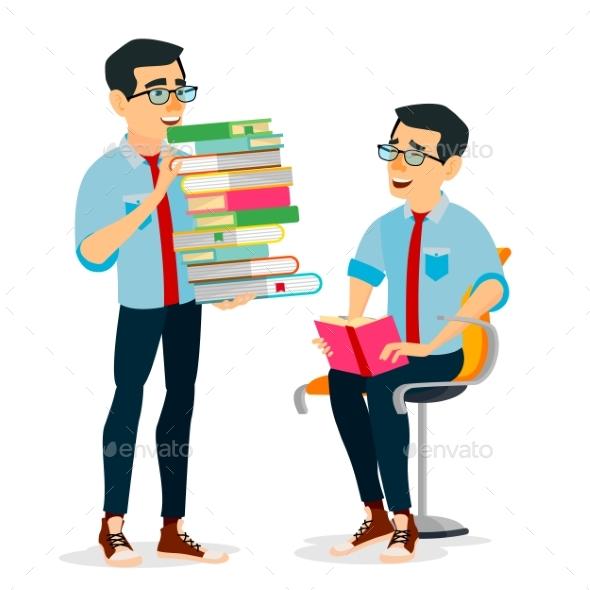 Man In Book Club Vector. - Technology Conceptual