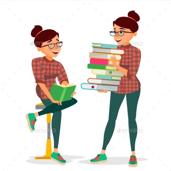 Woman In Book Club Vector. - Technology Conceptual