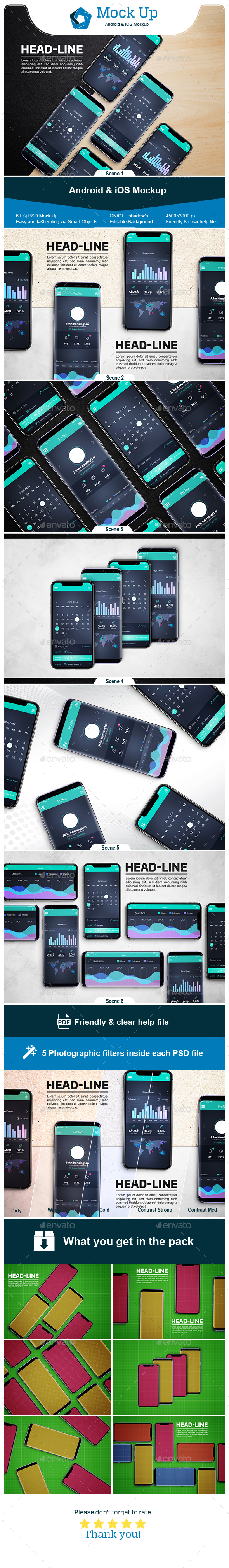 Android & iOS Mockup - Mobile Displays