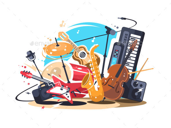 Musical Instruments on Stage - Objects Vectors