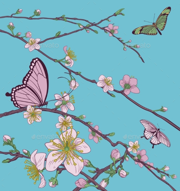 Cherry Peach Blossom Tree Flowers and Butterflies - Flowers & Plants Nature