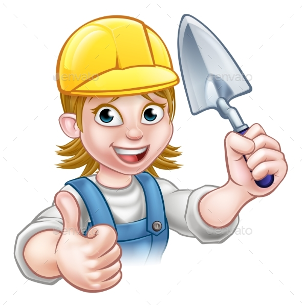 Female Builder Bricklayer Worker With Trowel Tool - People Characters