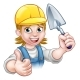 Female Builder Bricklayer Worker With Trowel Tool