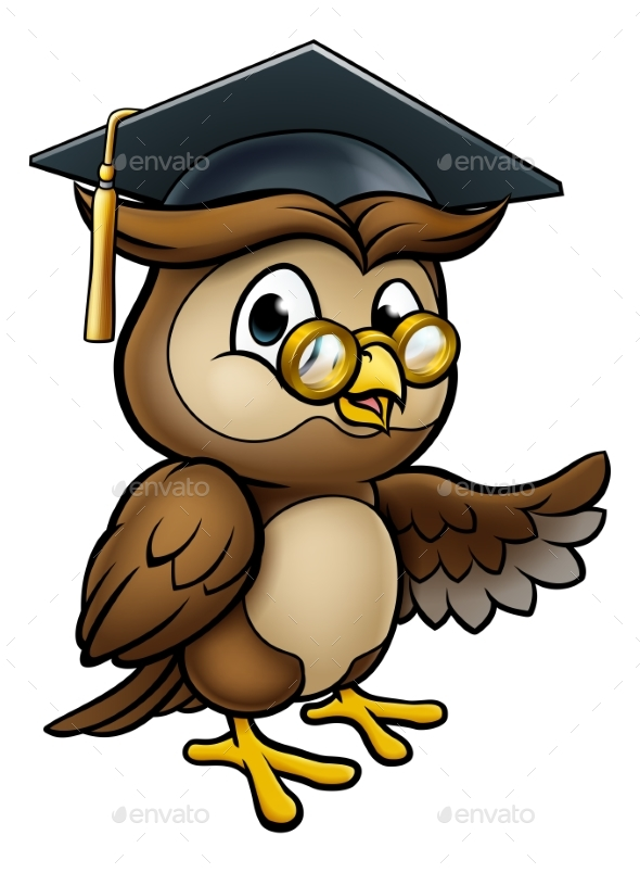 Wise Owl Cartoon Graduate Teacher Pointing - Miscellaneous Vectors