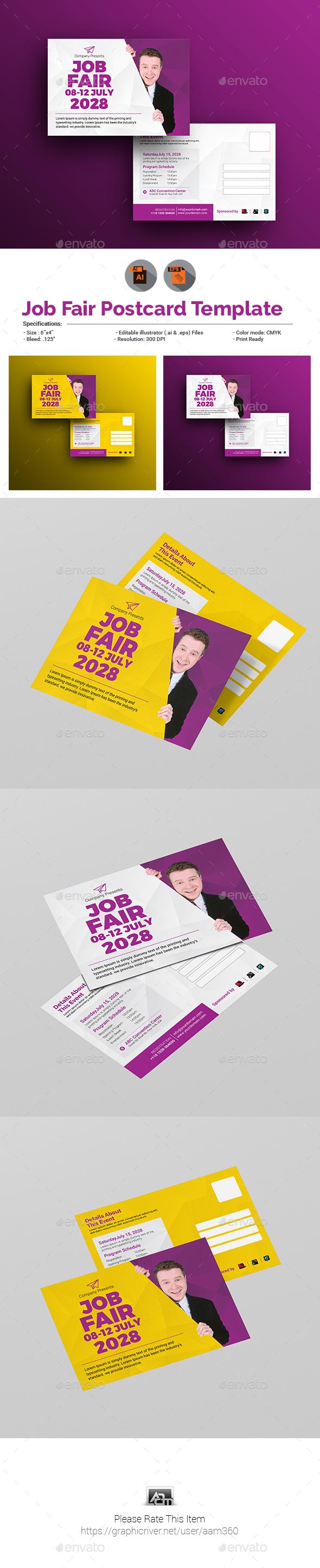 Job Fair Postcard Template - Cards & Invites Print Templates