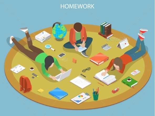 Homework Flat Isometric Vector Concept - Miscellaneous Vectors