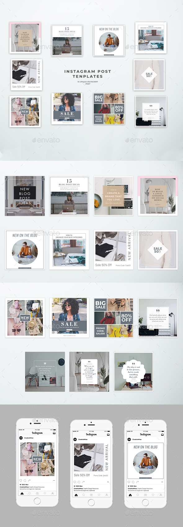 15 Instagram Post Templates - Social Media Web Elements