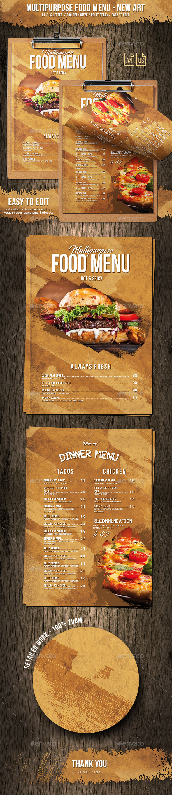 Multipurpose Food Menu - New Art - A4 & US Letter - Food Menus Print Templates