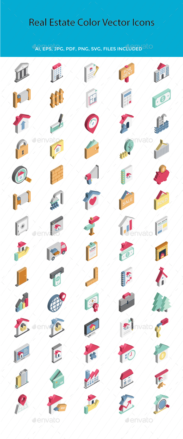 Real Estate Color Vector Icons Set - Icons