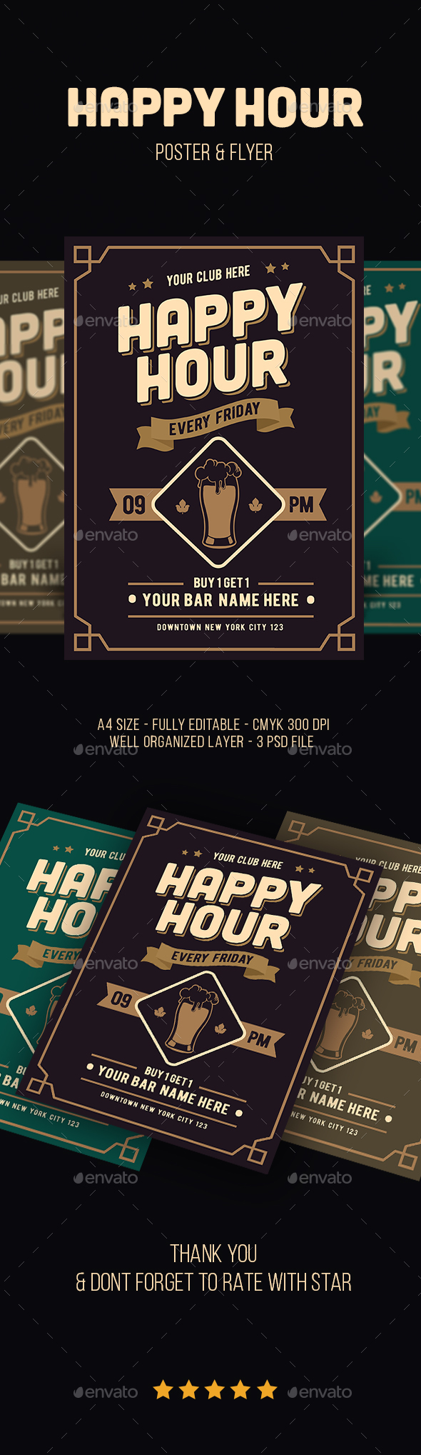 Classic Happy Hour Drinks Flyer - Flyers Print Templates